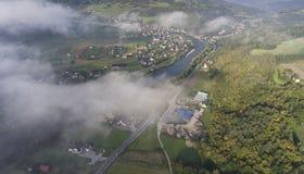 Landscape misty panorama. Fantastic dreamy sunrise on rocky moun Royalty Free Stock Photos