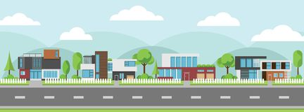 Landscape of modern houses with tree and clouds and along the roads. Modern building and architecture along the roads, Flat home vector illustration Stock Image