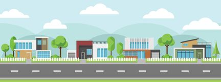 Landscape of modern houses with tree and clouds and along the roads. Modern building and architecture along the roads, Flat home vector illustration Royalty Free Stock Image