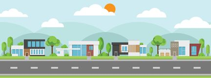 Landscape of modern houses with tree and clouds and along the roads. Modern building and architecture along the roads, Flat home  illustration Royalty Free Stock Images