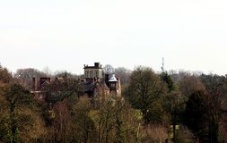 Landscape with a modern mansion in London. UK. View from Hampstead Heath royalty free stock images