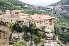 Landscape of monasteries in mount Athos in Greece, high altitude Royalty Free Stock Photo