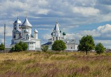 Landscape with the monastery Stock Photography