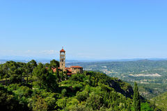 Landscape with monastery Montserrat in Spain. Royalty Free Stock Photos