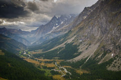 Landscape Mont-Blanc, Italian Alps. Views of Mont-Blanc with dramatic grey sky , Italian Alps Stock Images