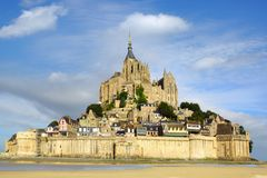 Mont Saint-Michel during sunset. Royalty Free Stock Image