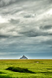 Landscape with Mont Saint Michel on background Stock Images