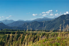 Landscape montain. A panoramic view of Fagaras mountains in Romania. In the background is seen Poienari fortress of Vlad Tepes which can be reached by climbing Stock Images