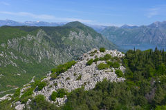 Landscape of Montenegro. Ruins of the ancient fortress on the hill at the Kotor city, Montenegro Stock Image