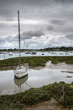 Landscape of moody evening sky over low tide marine. Fu of yachts Royalty Free Stock Image