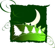 Landscape with moon. Vector moon over forest witn border and ornamets vector illustration