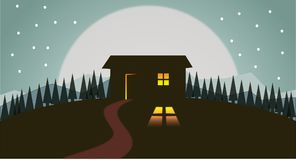 Landscape and moon. A vector art is illustrated composing landscape view at night, silhouette of house and pine trees, hills, moon and stars making this Stock Photo