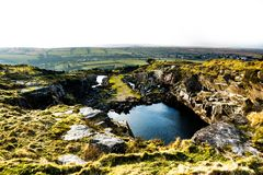 A landscape of a quarry in Liskeard, Cornwall, UK. A landscape of moorlands and a quarry in Liskeard, Cornwall Royalty Free Stock Photography
