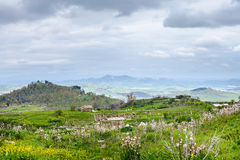 Landscape with Morgantina settlement in Sicily Royalty Free Stock Photo