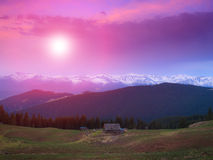 Landscape of morning twilight in the spring mountains. Stock Images