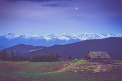 Landscape of morning twilight  in the spring mountains. Royalty Free Stock Photos