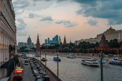 Landscape of Moscow city on the Red Square. Royalty Free Stock Photography