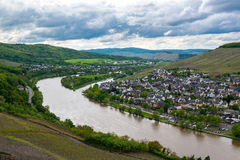 Landscape with Mosel valley, river and Bernkastel-Kues town, Germany Stock Image