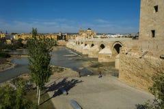 Mosque and roman bridge of Cordoba. Landscape of the mosque of Cordoba, the Roman bridge and the guadalquivir river stock image