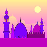 Landscape with mosques and sunset. Royalty Free Stock Photos