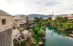 Landscape of Mostar, Tourism in Bosnia and Herzegovina Stock Image