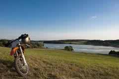 Landscape with motorcycle Royalty Free Stock Image
