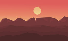 Landscape mounatin and hill at sunset of silhouette Stock Photo