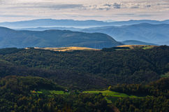 Landscape of mount Bobija, peaks, hills, meadows and colorful forests Stock Photography