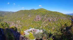 Landscape of Mount Shibao with its cave temples, Yunnan, China royalty free stock image