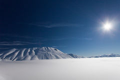 Mount vettore and pian grande with snow. Landscape with mount vettore and pian grande with snow Stock Photo