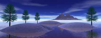 Landscape mountain. Mountain and fir tree and sky blue Stock Image