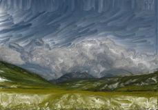 Landscape mountain against the sky and fields. Abstract brushwork landscape of mountains against the sky and field in the summer Royalty Free Stock Photo