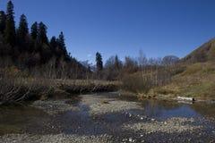 Caucasian Biosphere Reserve. Landscape of mountain Caucasus at autumn on sunny day. Caucasian Biosphere Reserve, Russia stock images