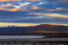 Landscape of mountain at Cromarty Firth during Sunset in Invergordon Stock Photos