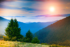Landscape in the mountain:hazy tops and autumn valleys. Fantastic evening glowing by sunlight Royalty Free Stock Photo