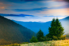 Landscape in the mountain:hazy tops and spring valleys. Stock Photos