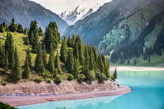 Landscape mountain  lake in Central Asia Royalty Free Stock Images