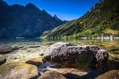 Landscape of mountain lake Morskie Oko near Zakopane, Tatra Moun. Tains, Poland Stock Photos
