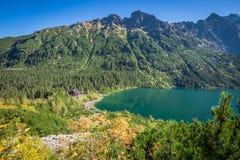 Landscape of mountain lake Morskie Oko near Zakopane, Tatra Moun Royalty Free Stock Photos