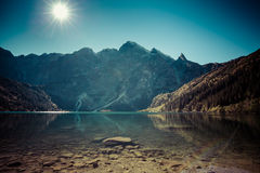 Landscape of mountain lake Morskie Oko near Zakopane, Tatra Moun Royalty Free Stock Photos
