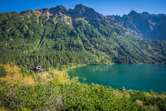 Landscape of mountain lake Morskie Oko near Zakopane, Tatra Moun Royalty Free Stock Photography