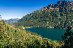Landscape of mountain lake Morskie Oko near Zakopane, Tatra Moun Stock Images