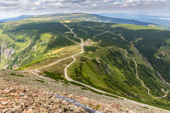 Landscape with mountain and nice clouds in Krkonose in Czech republic Stock Photography