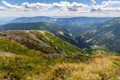 Landscape with mountain and nice clouds in Krkonose in Czech republic Royalty Free Stock Photos