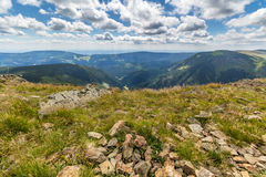 Landscape with mountain and nice clouds in Krkonose in Czech republic Royalty Free Stock Photo