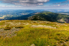 Landscape with mountain and nice clouds in Krkonose in Czech republic Stock Photos