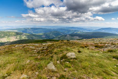 Landscape with mountain and nice clouds in Krkonose in Czech republic Royalty Free Stock Image