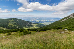 Landscape with mountain and nice clouds in Krkonose in Czech republic Stock Image