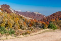 Landscape on mountain pasture Demerdzhi, Crimean peninsula Royalty Free Stock Photo