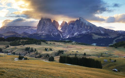 Landscape in mountain pasture and peak, Alpe di Siusi, Dolomites Stock Photos